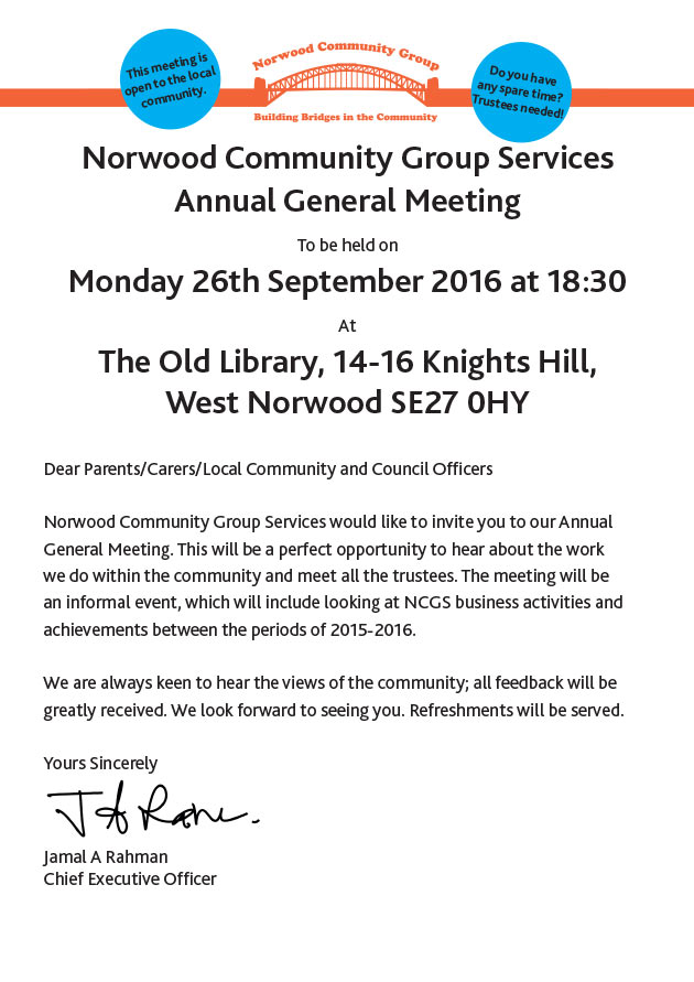 Norwood community group notice of annual general meeting ncg agm 2016 notice altavistaventures Gallery